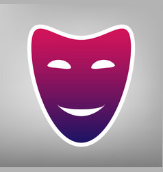 Comedy theatrical masks purple gradient vector