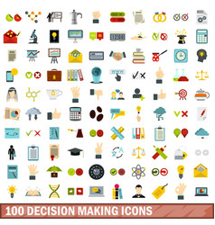 100 decision making icons set flat style vector