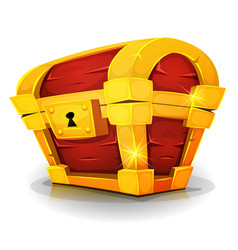 Cartoon treasure chest for game ui vector