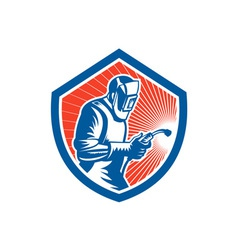 Welder Fabricator Welding Torch Side Shield Retro vector image
