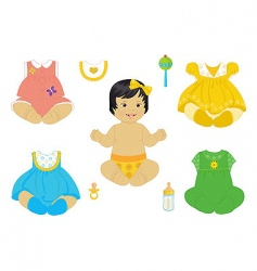 Asian baby girl vector image