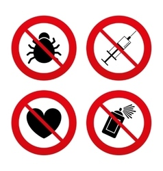 Bug and vaccine signs heart spray can icons vector