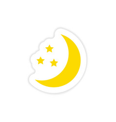 Icon sticker realistic design on paper moon star vector
