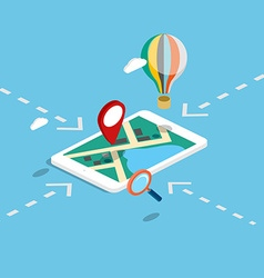 Flat 3d isometric mobile navigation maps vector