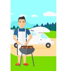 Man preparing barbecue vector