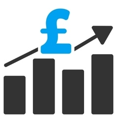 Pound business chart flat icon symbol vector