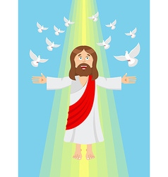 Jesus and pigeons ascension of jesus christ son of vector