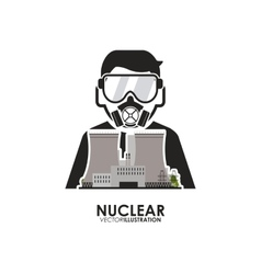 Nuclear design worker and industry concept vector
