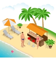 Summer concept of sandy beach beach summer couple vector