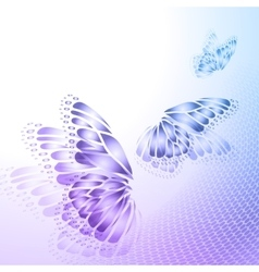 Abstract blue background with butterfly vector