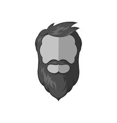 Avatar man with beard icon black monochrome style vector