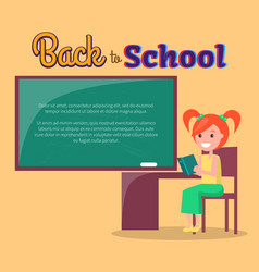 Back to school poster with redhead girl profile vector