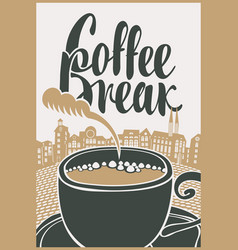 Banner with cup of coffee on background of town vector