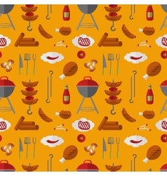 Barbecue grill seamless pattern in flat style vector image