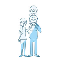 Blue silhouette shading caricature family with vector