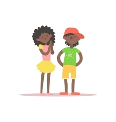 Brother and sister black kids vector