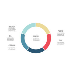 business infographics pie chart with 5 sections vector image vector image