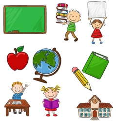Cartoon assorted school supplie and activitie vector image vector image
