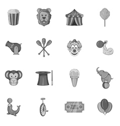 Circus icons set in black monochrome style vector image