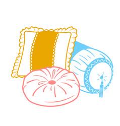 Cushion set icon shapes vector