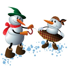 Cute Christmas Character Snowmen vector image vector image