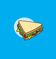 delicious yummy sandwich for breakfast cartoon vector image