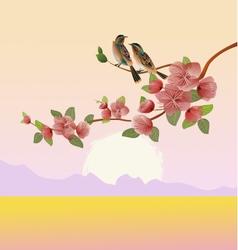 Evening in the garden blooming cherry vector
