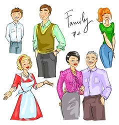 Family members isolated set 2 vector image