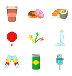 food party icon set cartoon style vector image