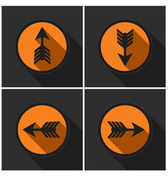 four orange round with black arrows and shadows vector image vector image