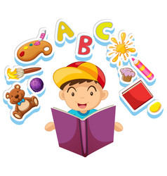 happy boy reading storybook alone vector image