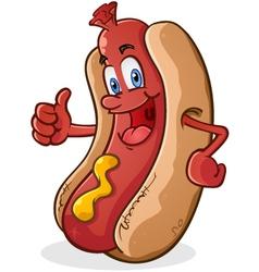 Hot dog thumbs up cartoon character vector