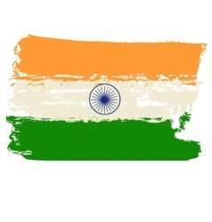 India flag painted by brush hand paints vector image vector image