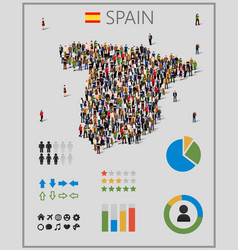 Large group of people in form of spain map with vector