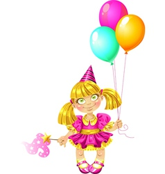 Little fairy with balloons vector image vector image