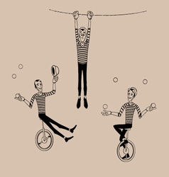 Mime coloring outline set 01 vector