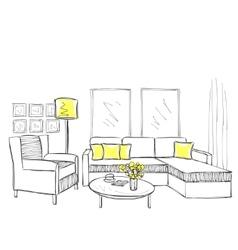 Modern interior room sketch vector