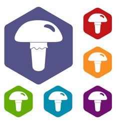 Poisonous mushroom icons set hexagon vector