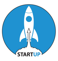 rocket icons start up on blue background vector image vector image
