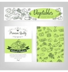 set banners with draw vegetables vector image vector image