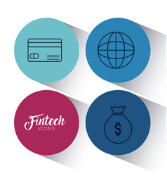 Set of fintech icons vector