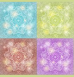 set of mandala snowflake background vector image