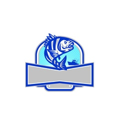 Sheepshead fish jumping fishing boat banner retro vector