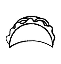 Silhouette delicious mexican tacos food vector