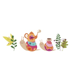 Snails and tea ceremony vector image