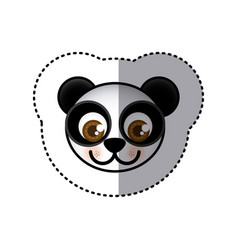 Sticker colorful picture face of panda with big vector