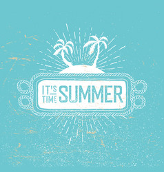summer time retro postcard rope frame palms and vector image vector image