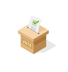Voting box isometric with paper sheet of vector