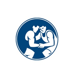 Wrestlers wrestling circle icon vector