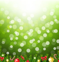 Xmas Card With Fir Tree With Bokeh vector image vector image
